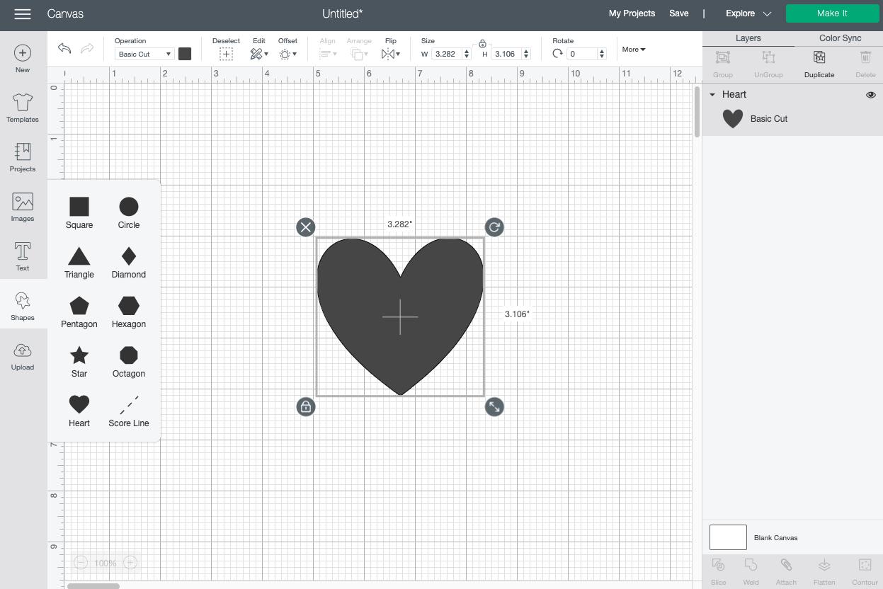 Cricut Design Space: create heart shape