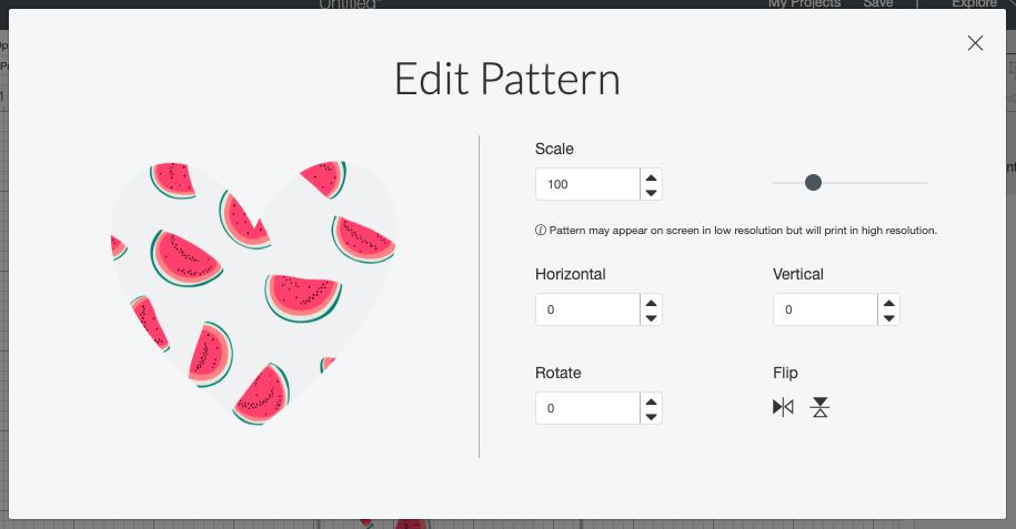 Cricut Design Space: Edit pattern screen