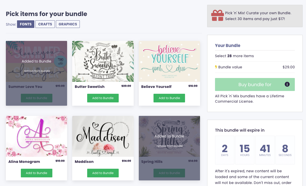 Screenshot of the Build Your Own Bundle page on Creative Fabrica