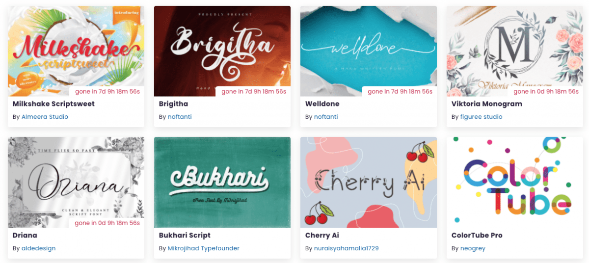 Screenshot of free fonts available on Creative Fabrica