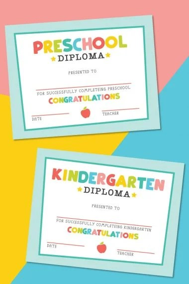 Kindergarten diploma on a colorful background