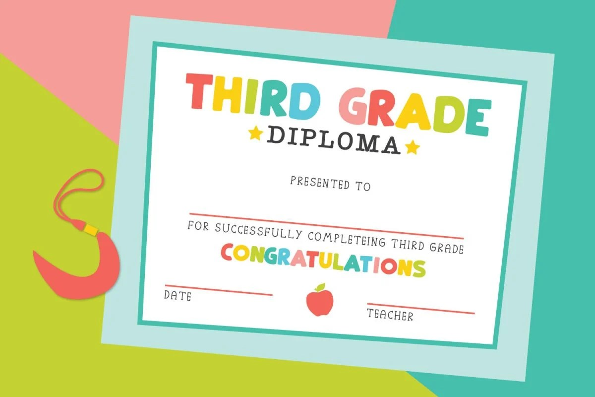 Third grade diploma on a colorful background