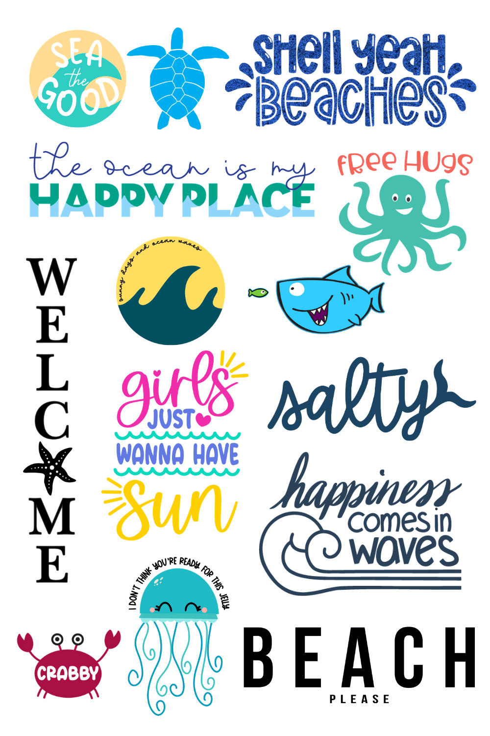 14 ocean-themed SVG files for Cricut and Silhouette