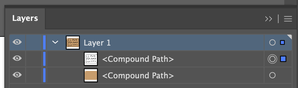 Illustrator: Layers panel showing just two layers.