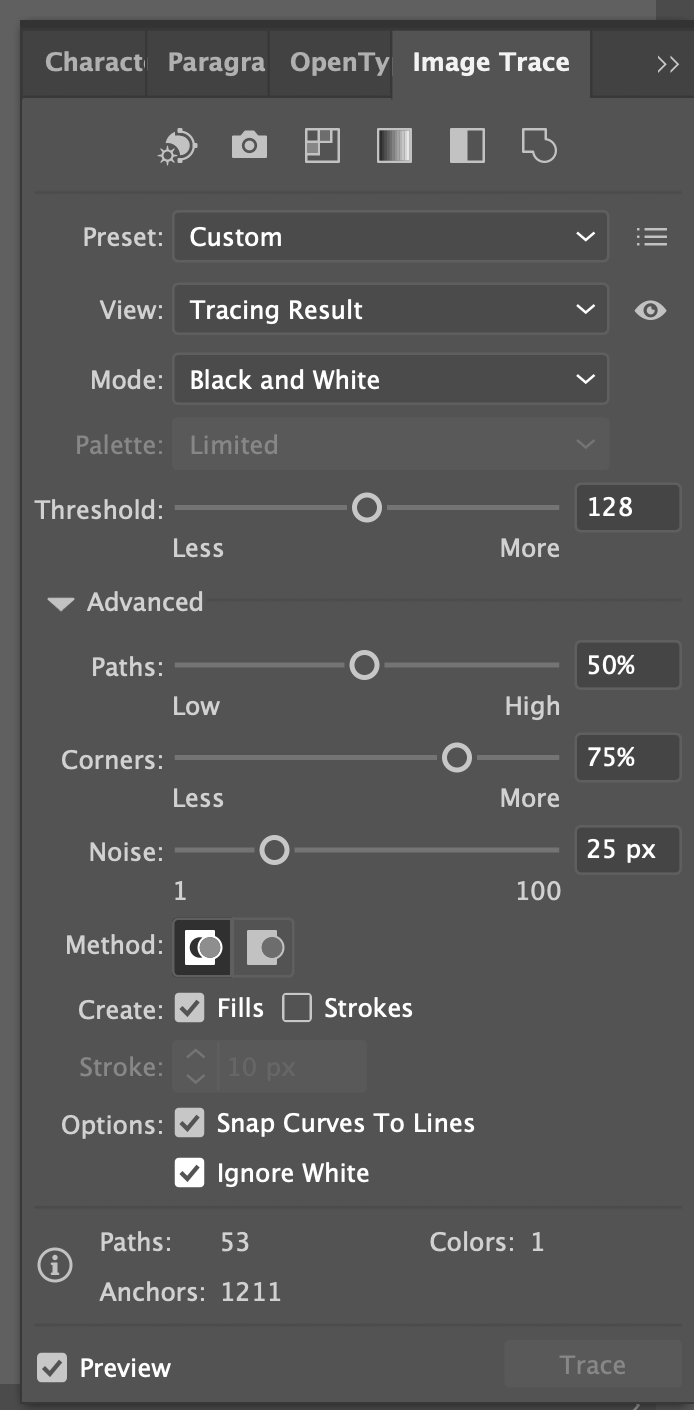 """Illustrator: Image Trace panel with """"Ignore White"""" selected"""