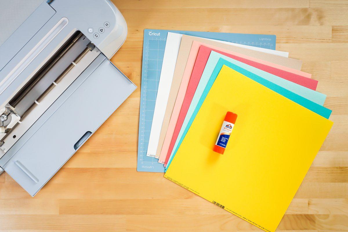 Supplies: Cricut Maker 3, blue mat, cardstock, glue stick