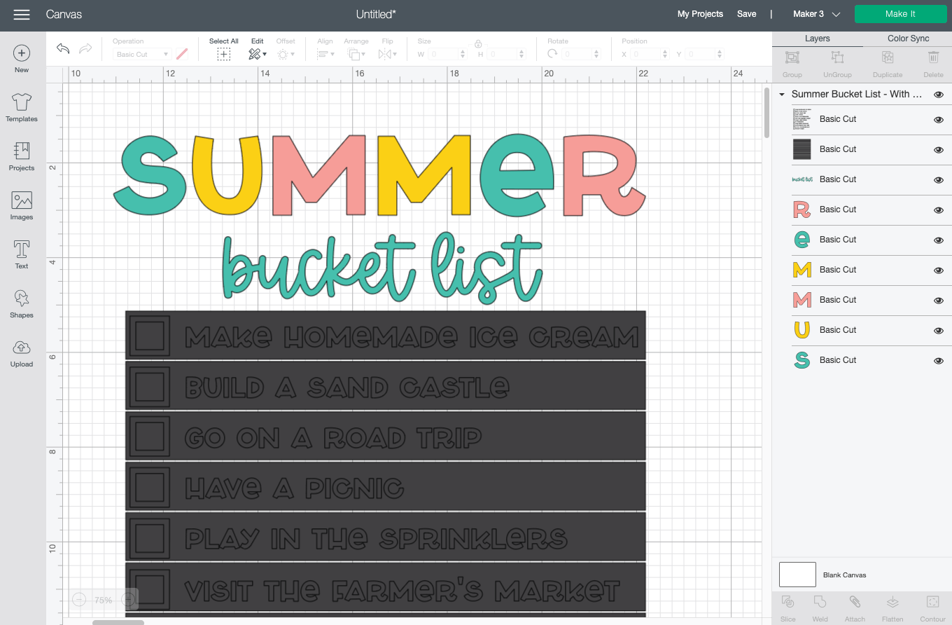 Cricut Design Space: Summer bucket list with weeding boxes uploaded to Canvas