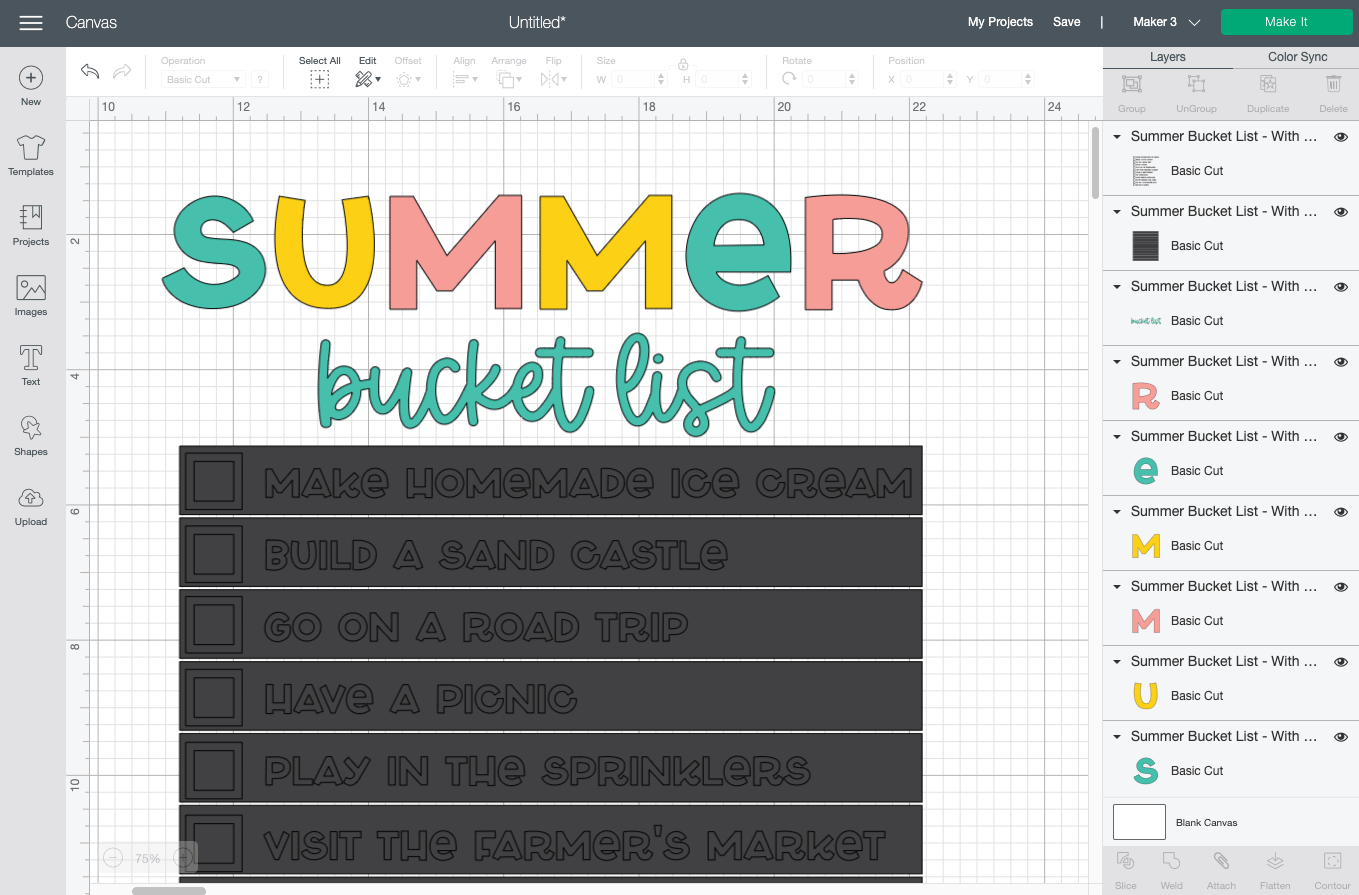 Cricut Design Space: layers of bucket list ungrouped