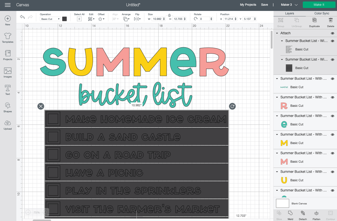 Cricut Design Space: showing attached weeding boxes and bucket list items.
