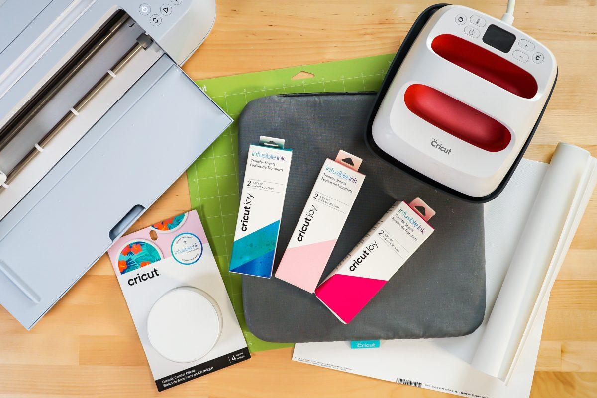 Supplies: Cricut Maker 3, green mat, infusible ink, Cricut coasters, small EasyPress, butcher paper, EasyPress mat, white cardstock