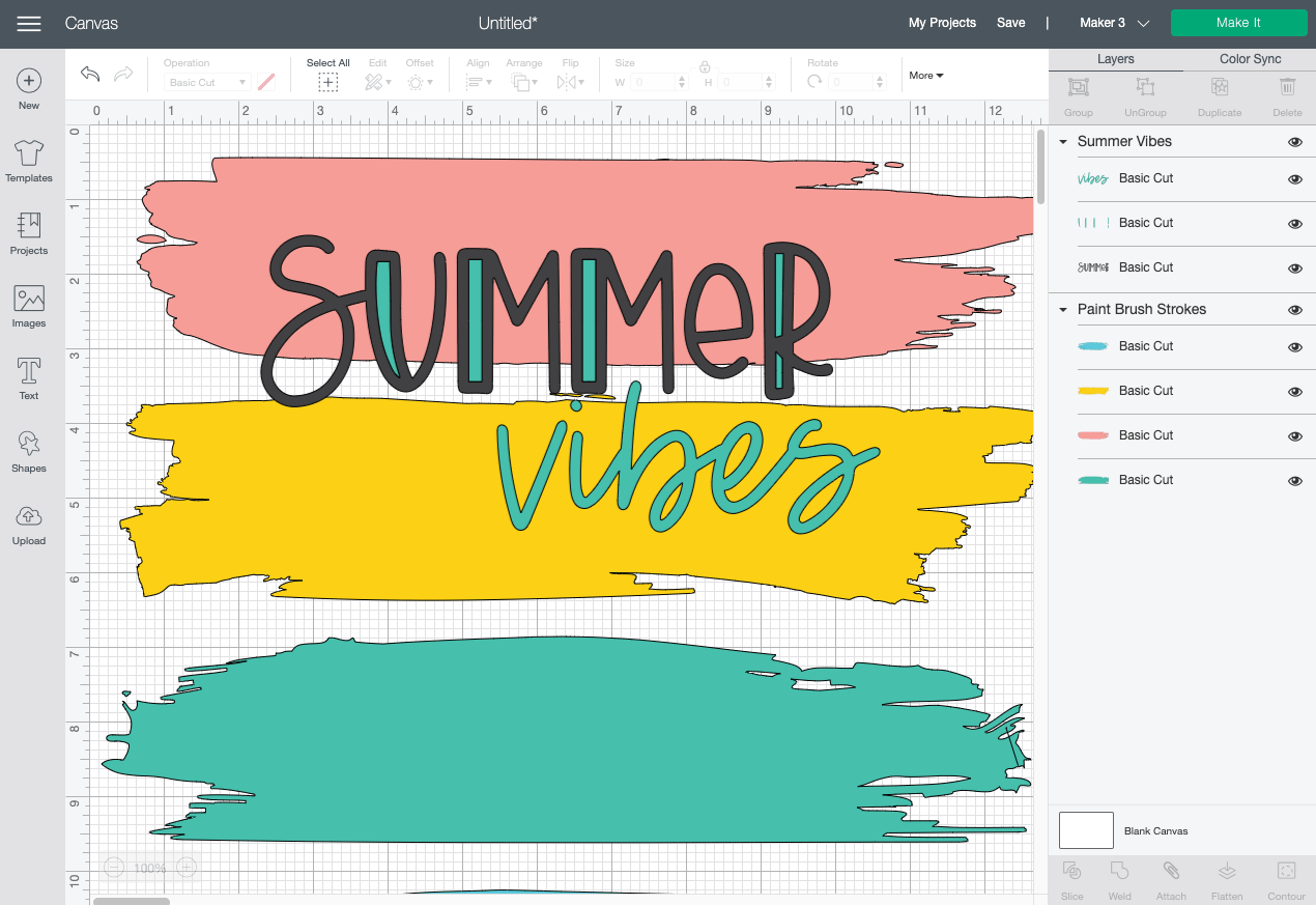 Cricut Design Space: Paint strokes and Summer Vibes images on Canvas