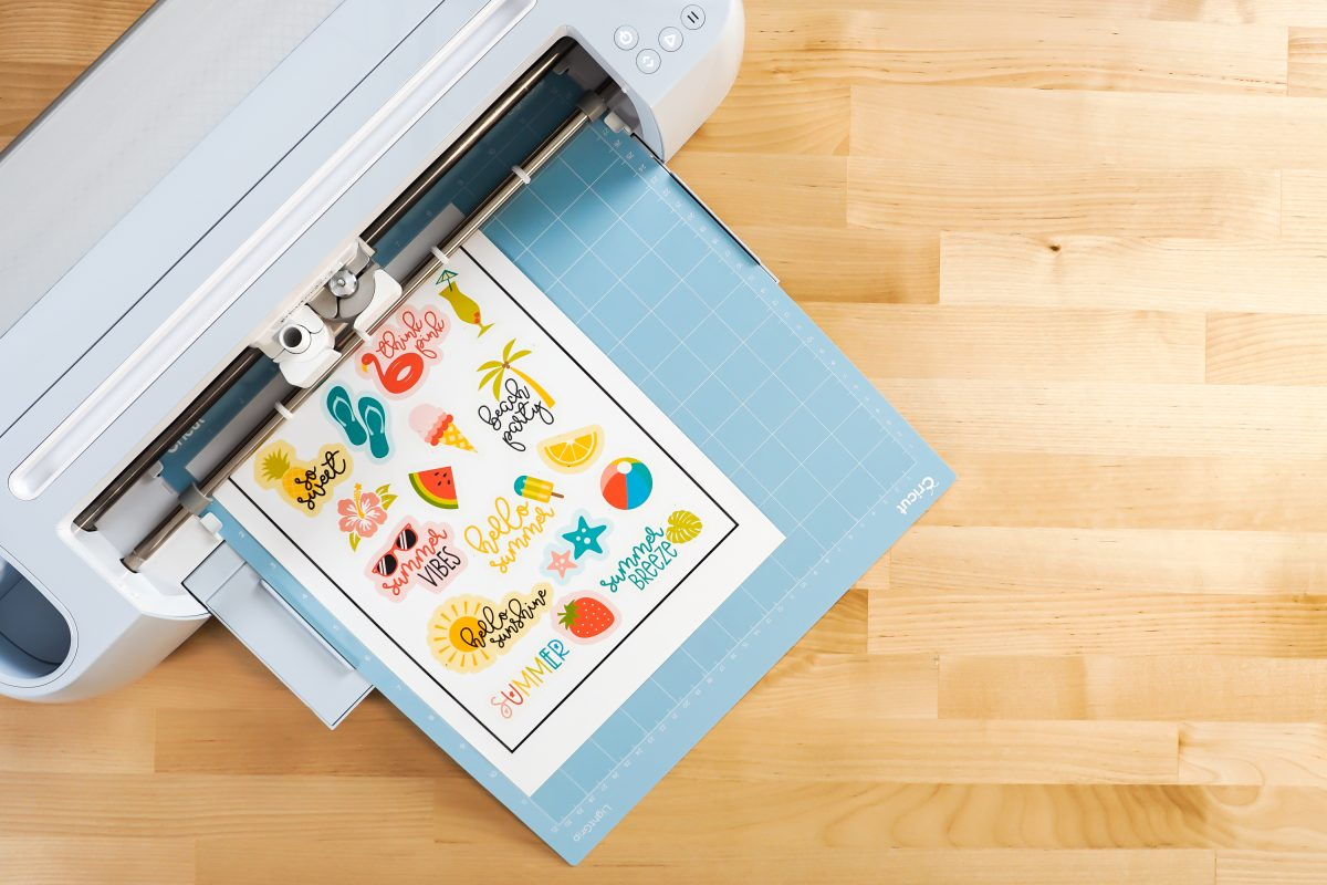 Printed Cricut summer sticker sheet on Mat in Cricut Maker 3