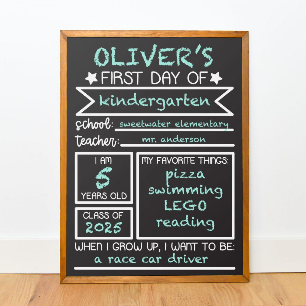 Chalkboard mockup with chalk font