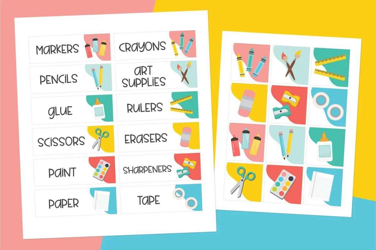 Mockup of classroom labels on colorful background.