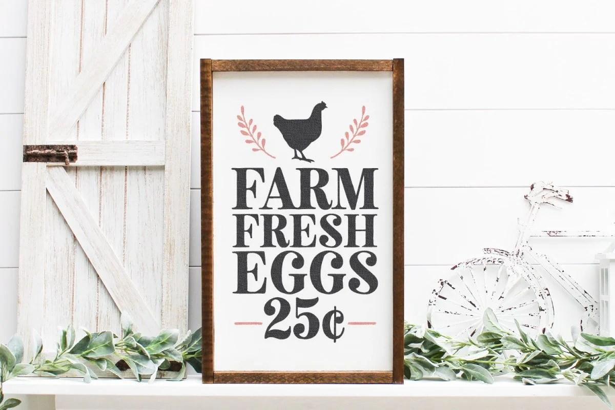 Farm Fresh Eggs SVG mocked up on a farmhouse sign