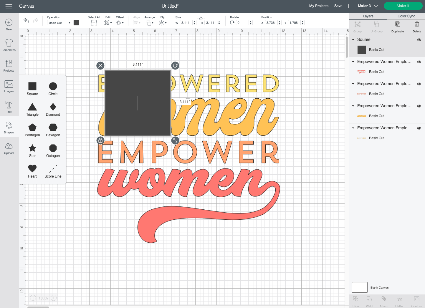 Cricut Design Space: Square added to Canvas
