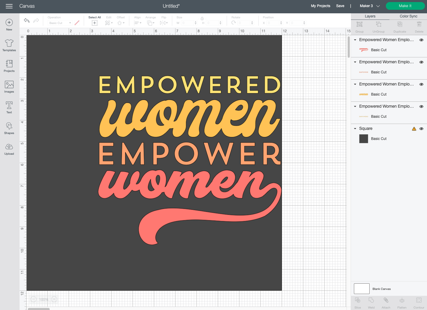 """Cricut Design Space: Square changed to 12"""" x 12"""" and moved behind image."""