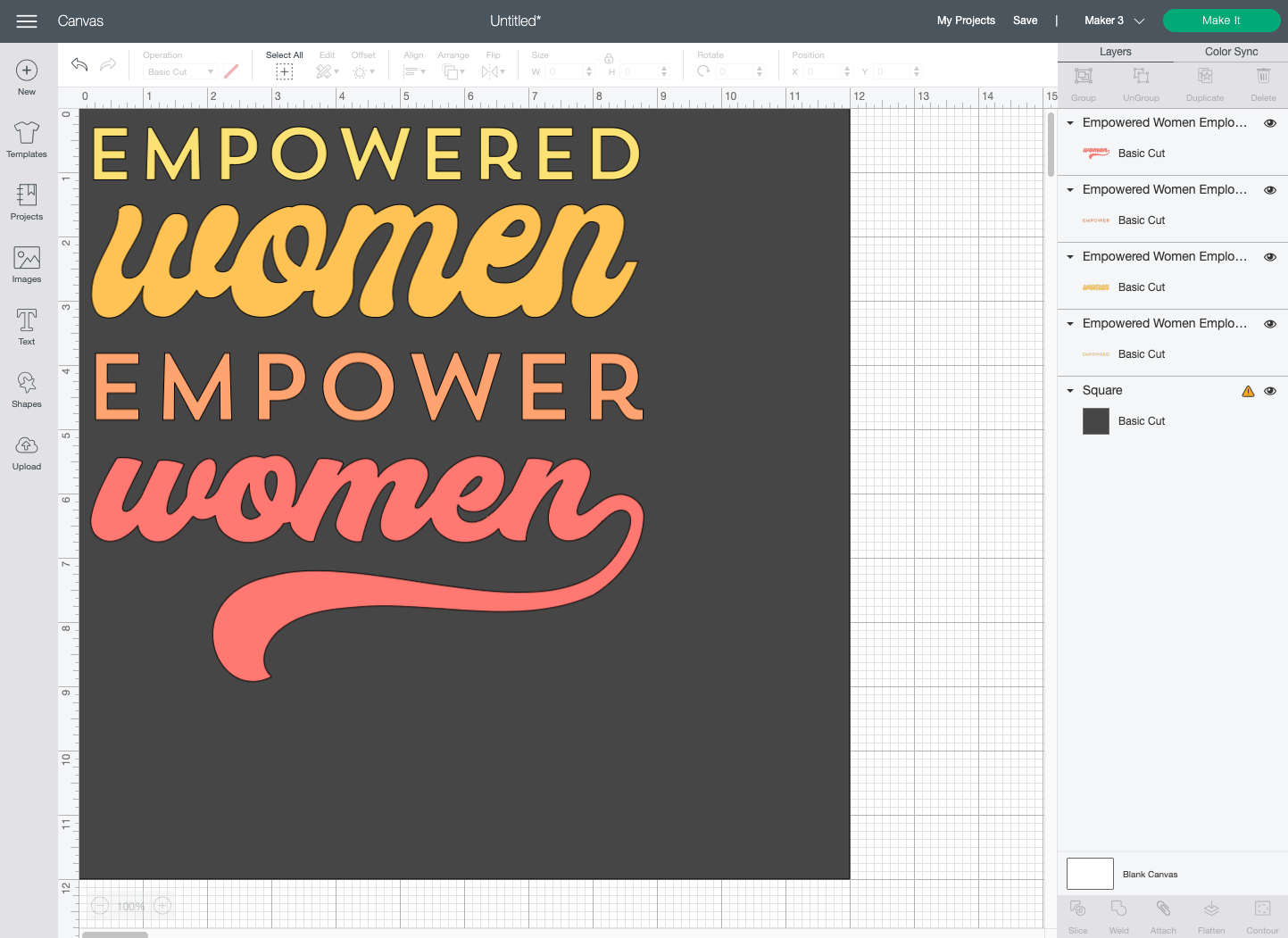 Cricut Design Space: Each line of the image moved to be on the left-hand side of the square