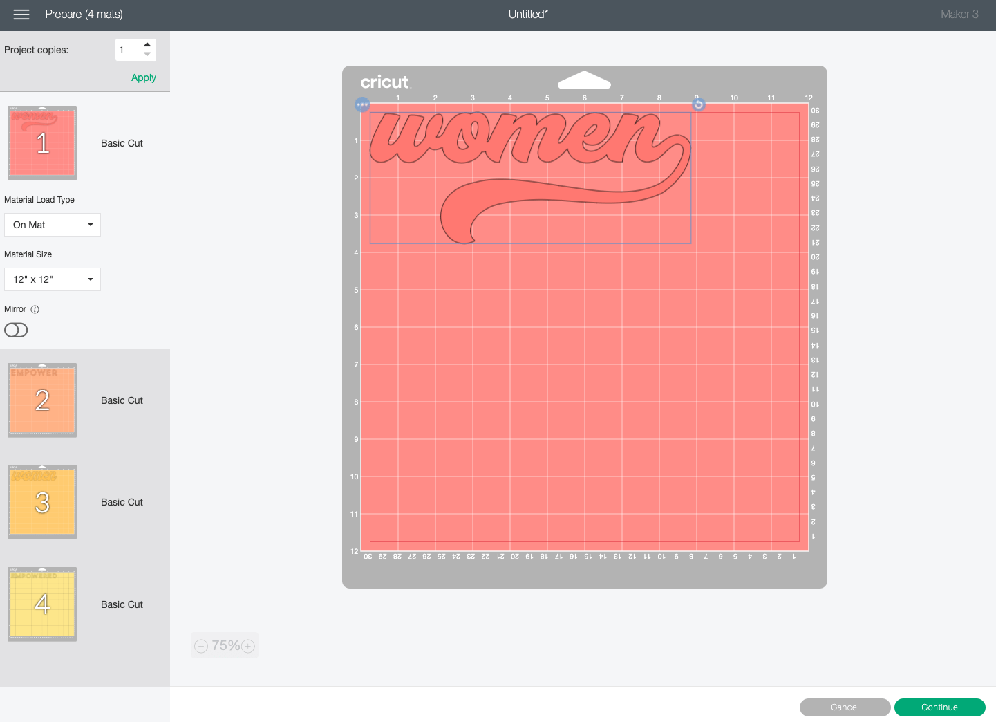Cricut Design Space: Prepare Screen showing different parts of the image on different mats.