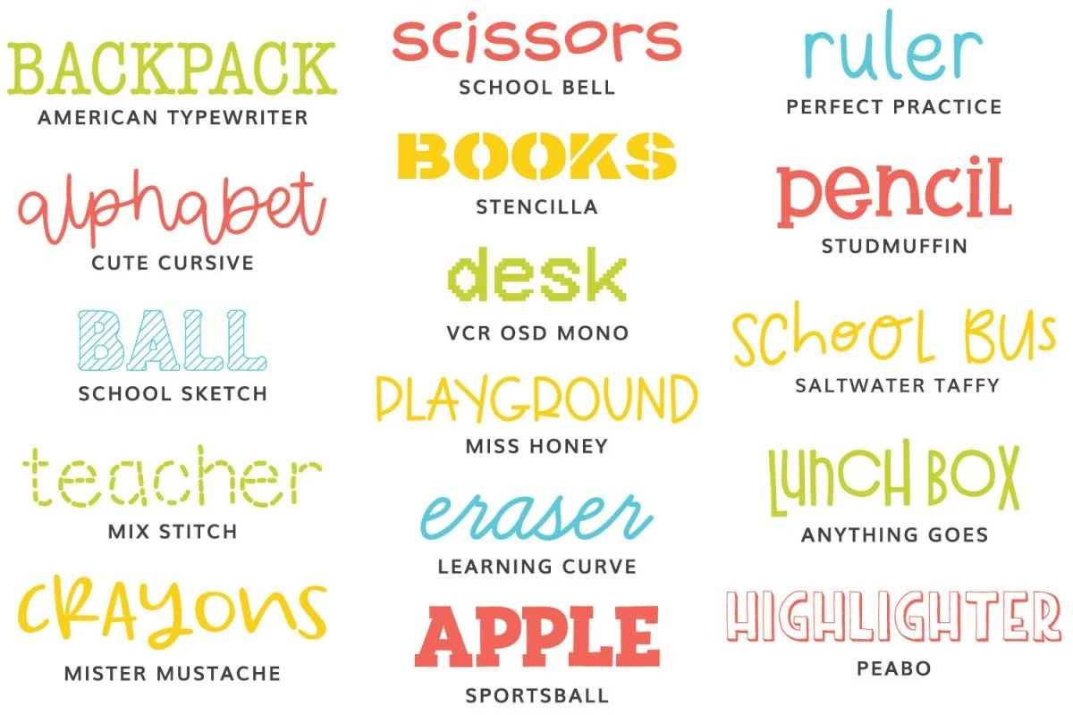 All the school fonts in this post.