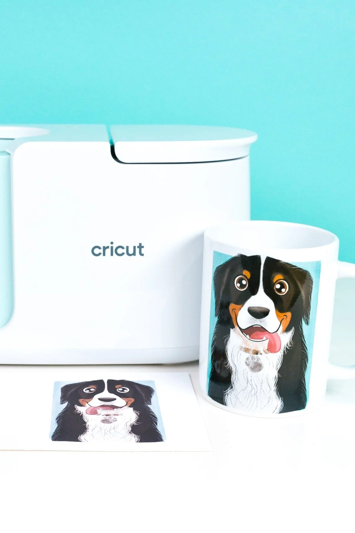 Cricut Mug Press with Dog mug and transfers
