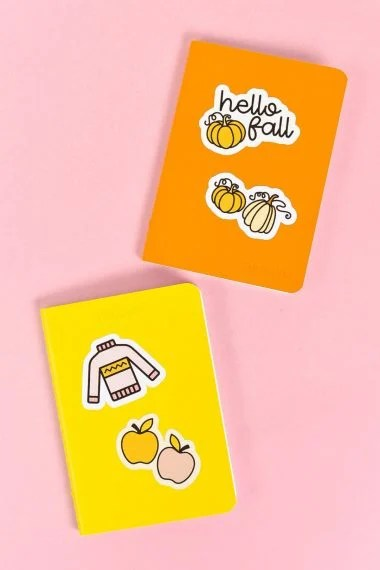 Notebooks with fall stickers
