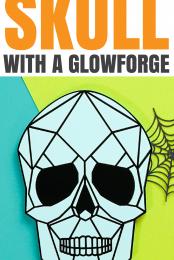 Geometric Acrylic Skull with a Glowforge Pin Image