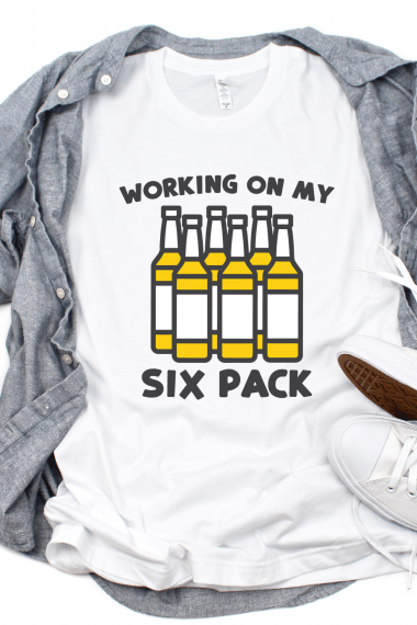 Life Happens Beer Helps SVG on a white t-shirt with gray buttondown shirt and Converse