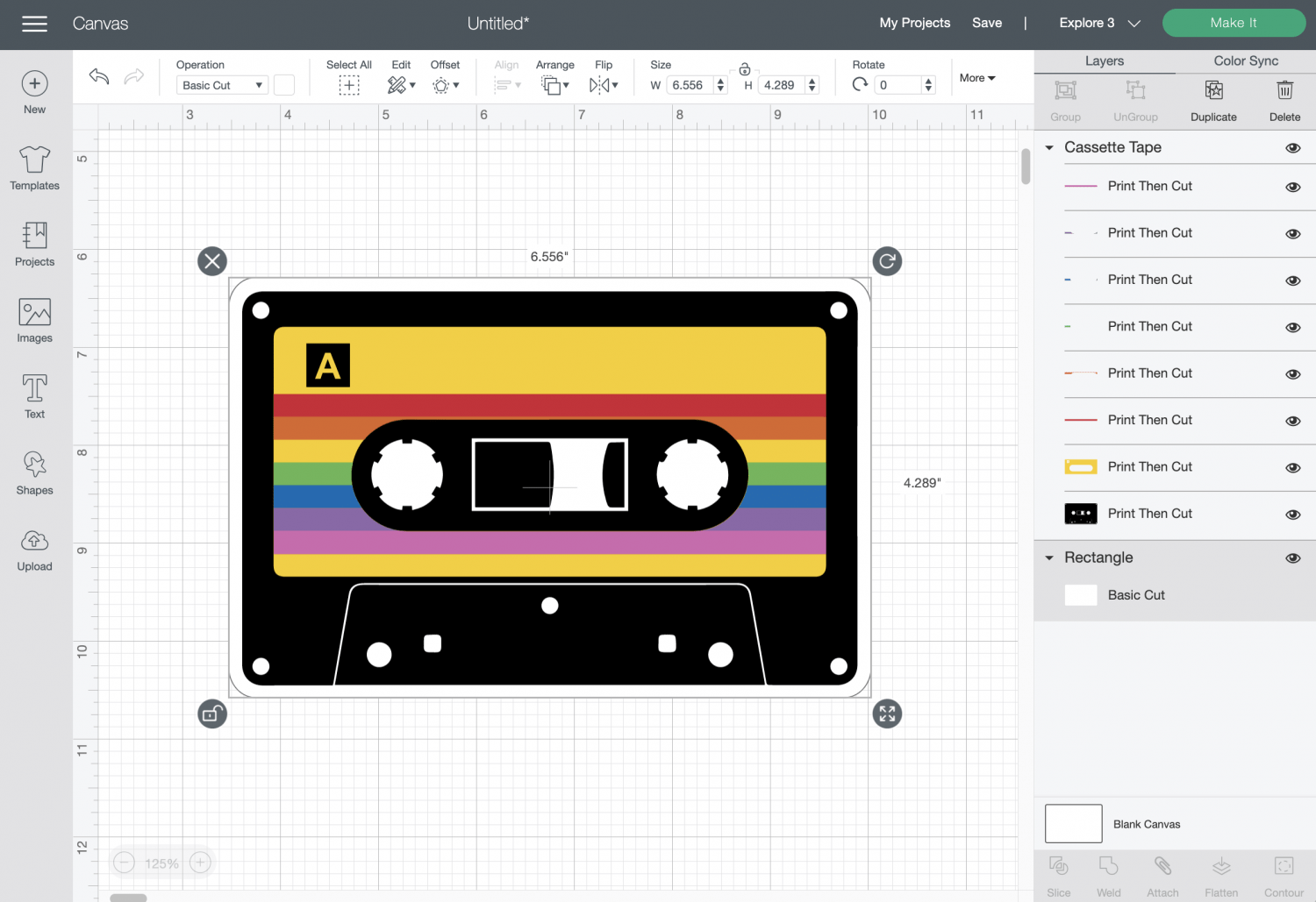 Cricut Design Space: Mix Tape with rounded rectangle behind