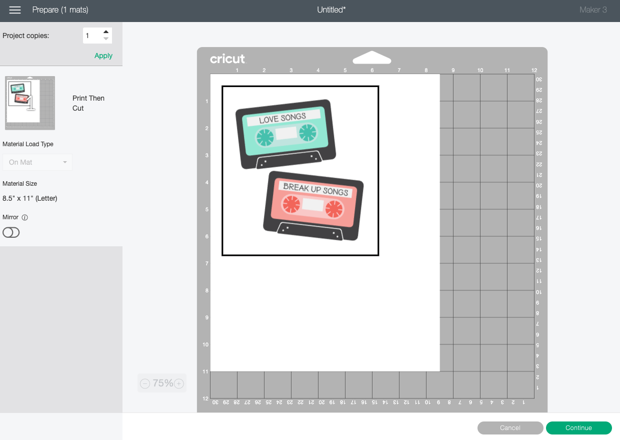 Cricut Design Space: Prepare screen showing mix tape on piece of paper with registration box.