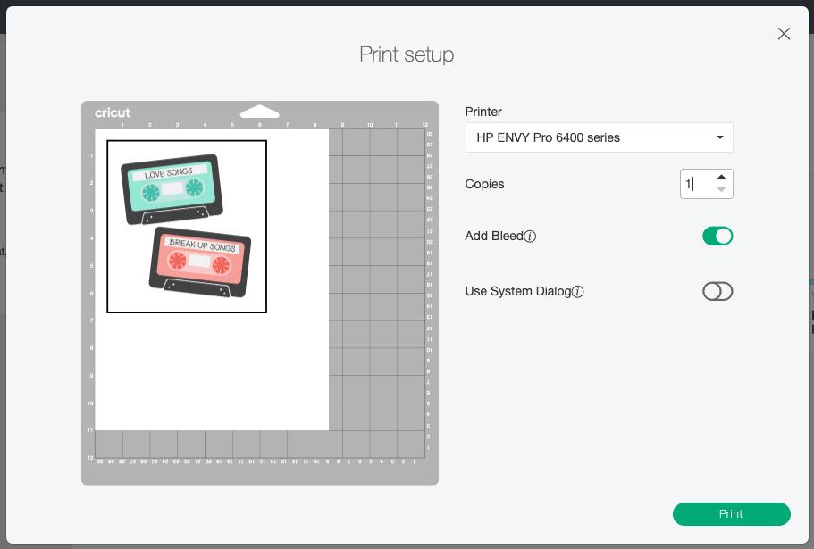 Cricut Design Space: Print Setup with option for bleeds