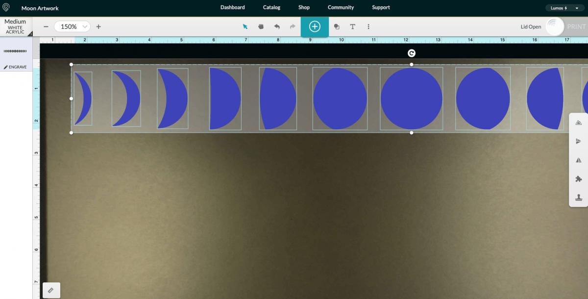 Glowforge App: Upload Moon Phase File