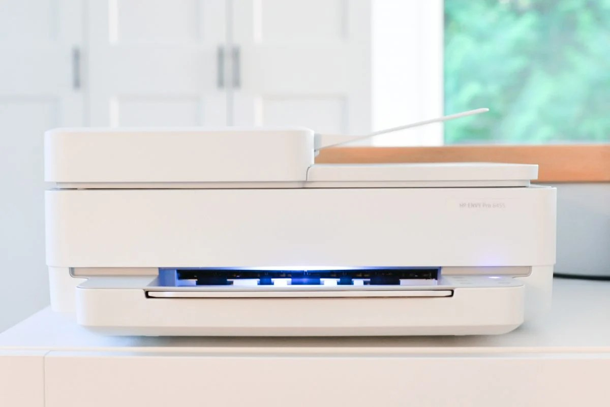 HP Envy printer on table