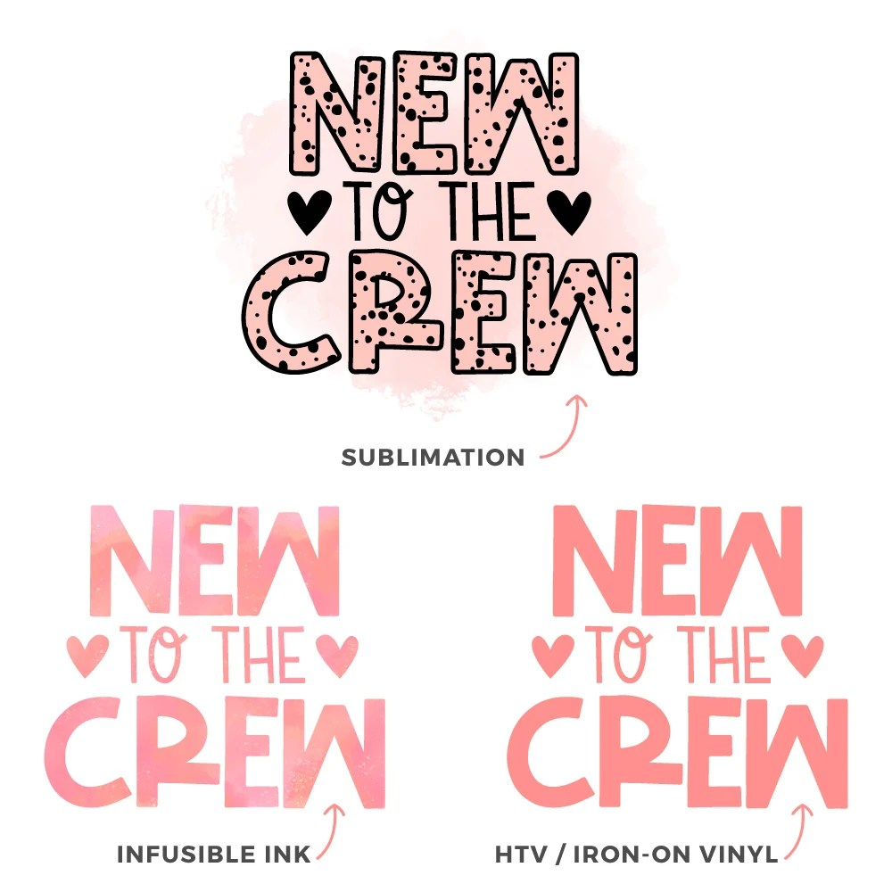 Image showing the difference between Sublimation, Cricut Infusible Ink, and HTV