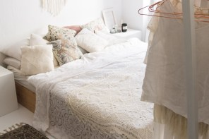 White Boho Bedroom in our Apartment &#8211; <br> An Interior Update