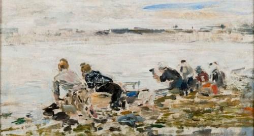 Eugène Boudin, Lavandières, 1881-1889, huile sur bois, 17,3 x 31,2 cm. Le Havre, Musée d'art moderne André Malraux © MuMa Le Havre / Florian Kleinefenn