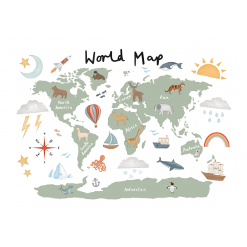 world map poster a3
