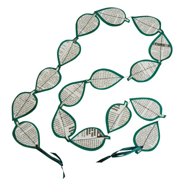 """50"""" Green And White Long Newspaper Garland String Decoration - New Leaf Garland"""