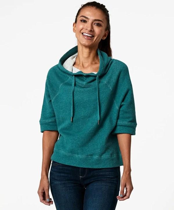 Women's Mallard Heather Cropped Funnel Neck Pullover XL