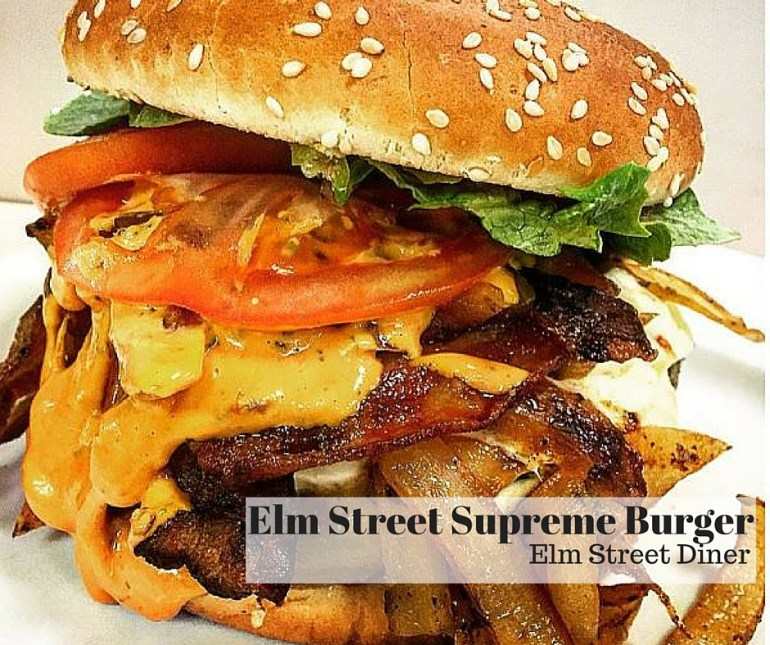 Elm Street Diner; Elm Street Supreme Burger Bacon, Melted Pepper Jack, Caramelized Onions, Romaine, Tomato & Chipotle Aioli