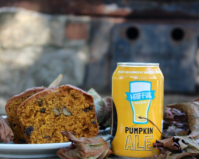 Just for fun, we paired Half Full's Pumpkin Ale with DiMare's Pumpkin Bread.