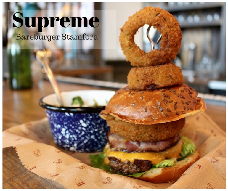 Supreme Burger; Bareburger Stamford: all natural, free-range, grass-fed beef, colby, country bacon, green leaf, onion rings, chopped fries, and special sauce on a brioche bun.