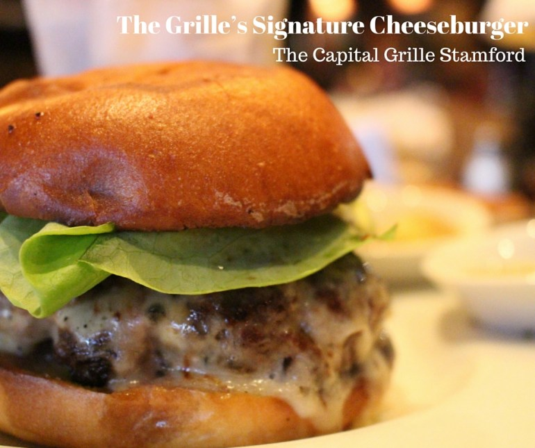 The Capital Grille; Grilles Signature Cheeseburger; a blend of top sirloin, smoked bacon and sweet onions