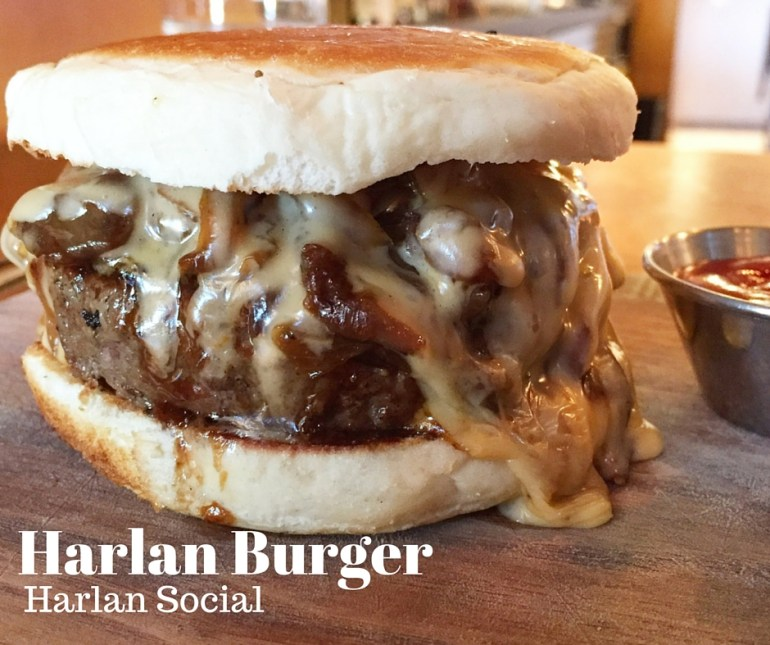 The Harlan Burger; Cheddar Ale Sauce & Bacon Onion Jam