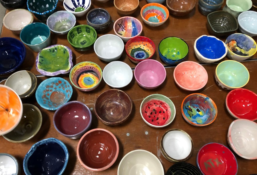 Austin Empty Bowl Project - photo of colorful bowls