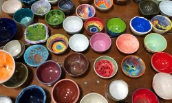 colorful bowls at Thanksgiving Empty Bowl Project in Austin