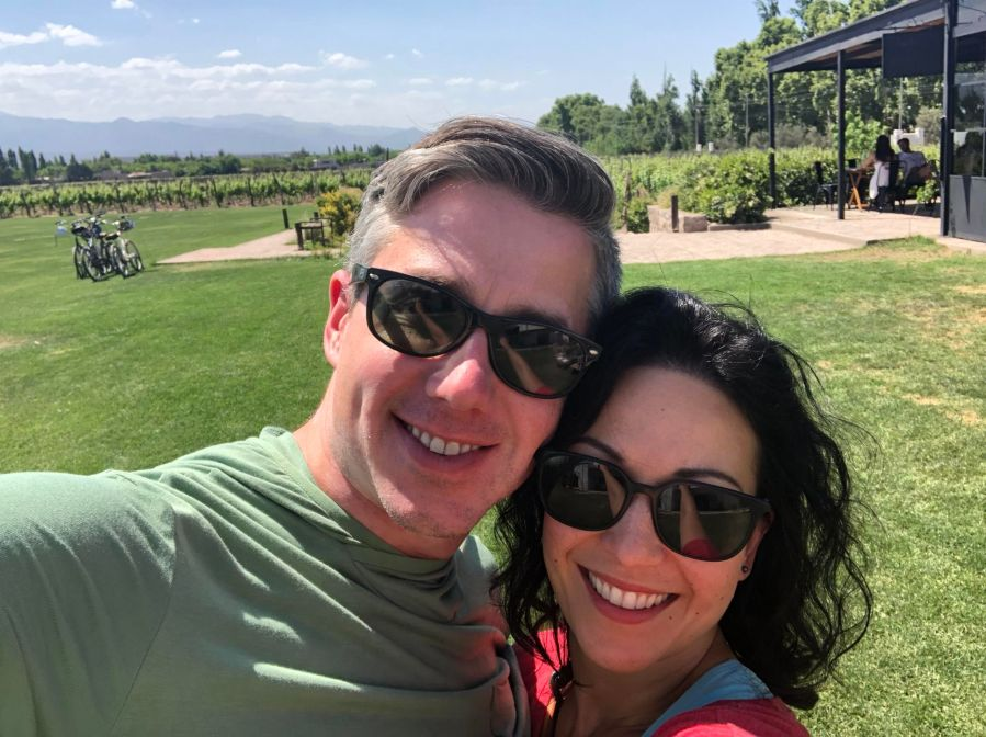Biking to wineries in Mendoza in the springtime
