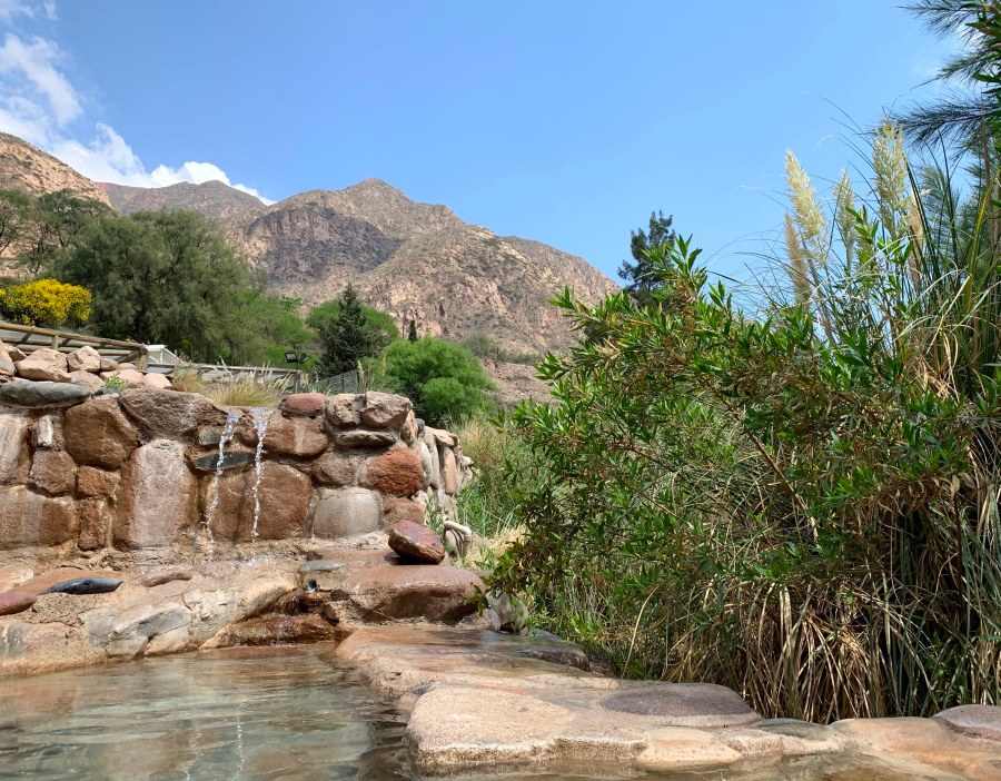 beautiful nature views from the pools at Termas Cacheuta spa