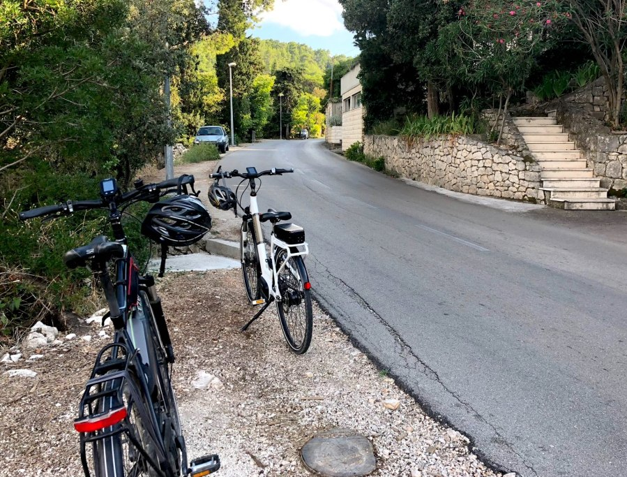 Biking through the interior of Korcula