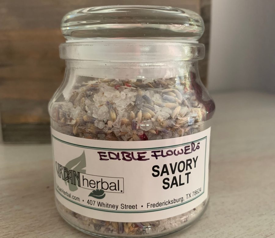 savory salt with edible flowers at urban herbal in Fredericksburg, TX